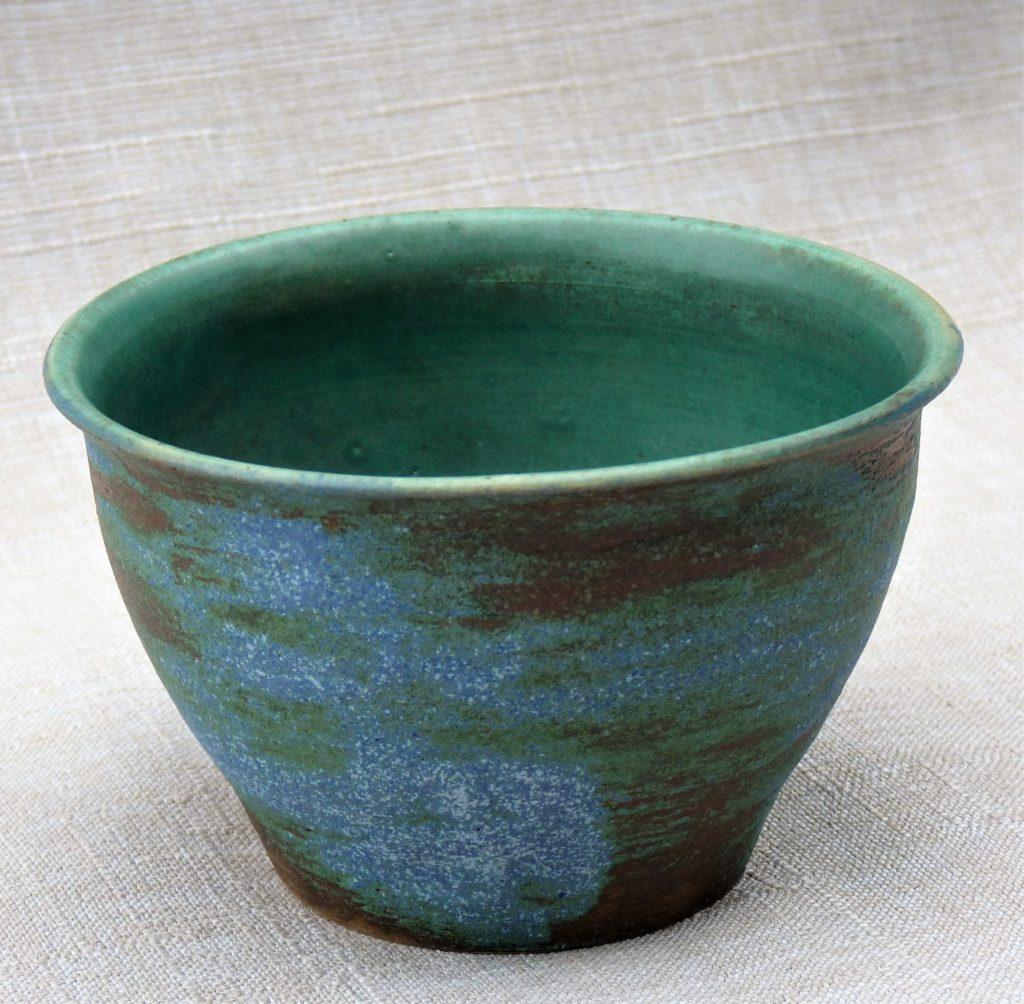 Grès émaillé vert et bleu, 12 x 7 cm